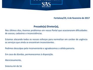 Comunicado sobre o acesso ao Portal SAS