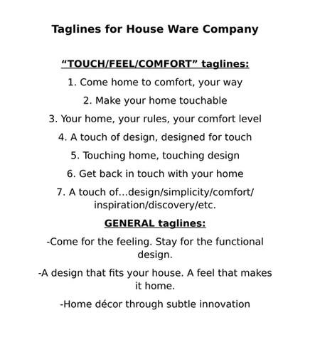 TAGLINES for Houseware Company