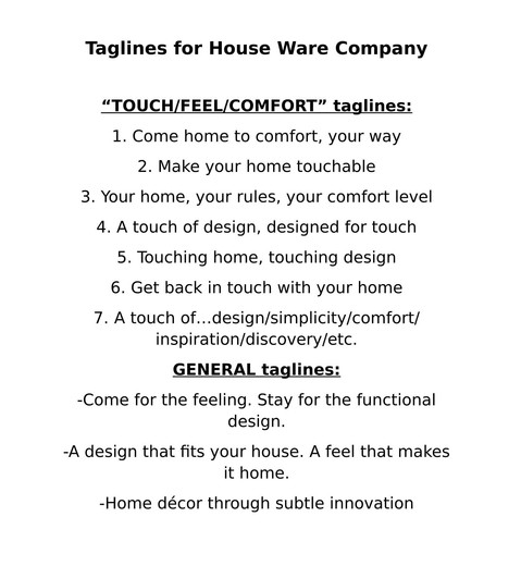 TAGLINES for Houseware Company
