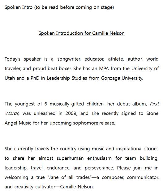 SPOKEN INTRO COPY for Motivational Speaker