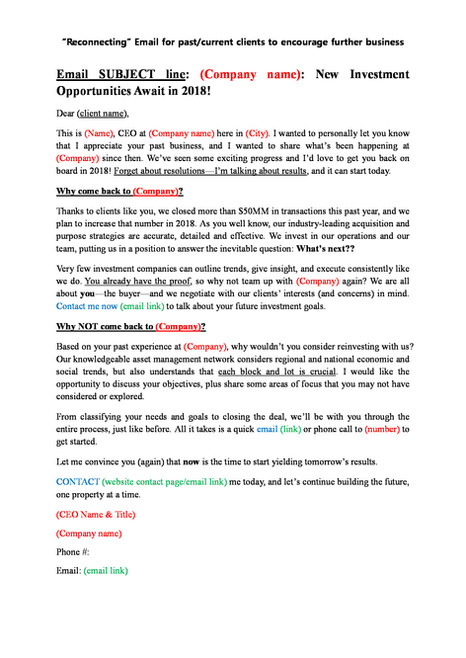 EMAIL COPY for Real Estate Investment Company