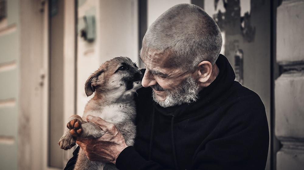Alter Mann mit Hund