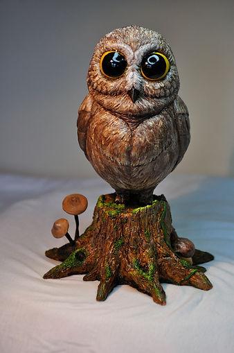 Cute little owl chouette hbou resin resine figure figurine fantasy statue figurine resine resin statue bensculptcreations bensculpt creations