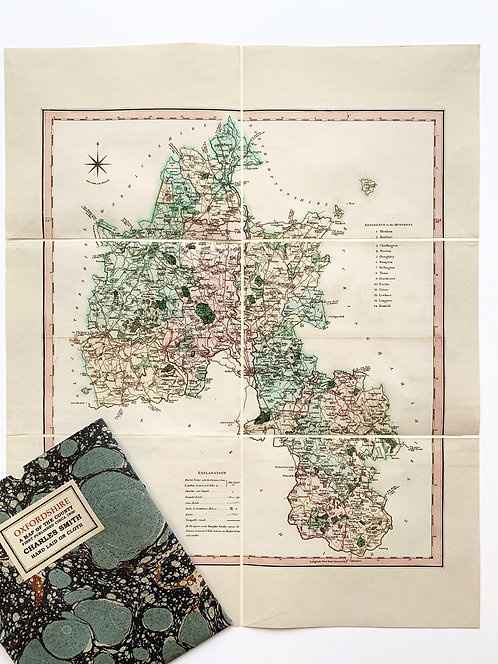 Old County Map of Oxfordshire by Charles Smith circa 1800