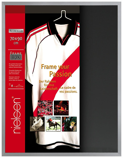 70x90cm Frosted Silver Framebox Memorabilia Display