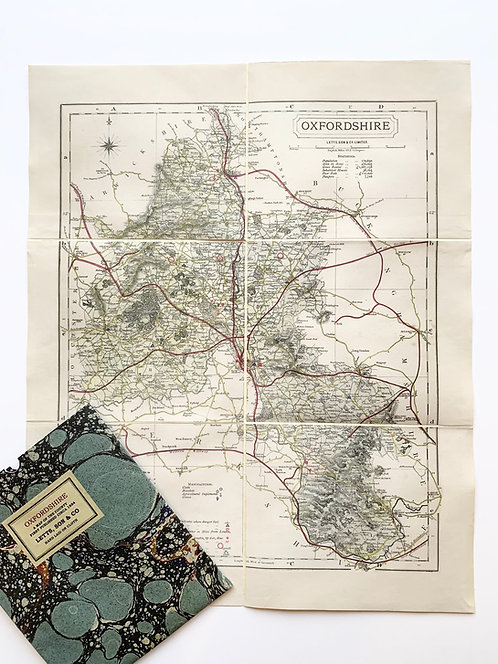 Old County Map of Oxfordshire, by Letts circa 1884