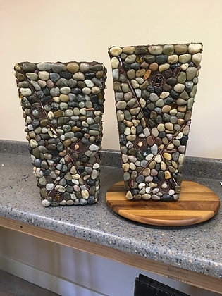 Outdoor River Stone Pot With Metal and Glass