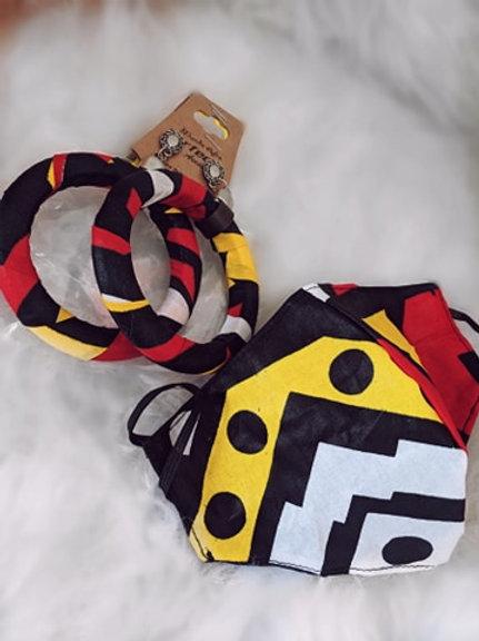 Brinco Afro Ring MD2  (vermelho, preto, amarelo)