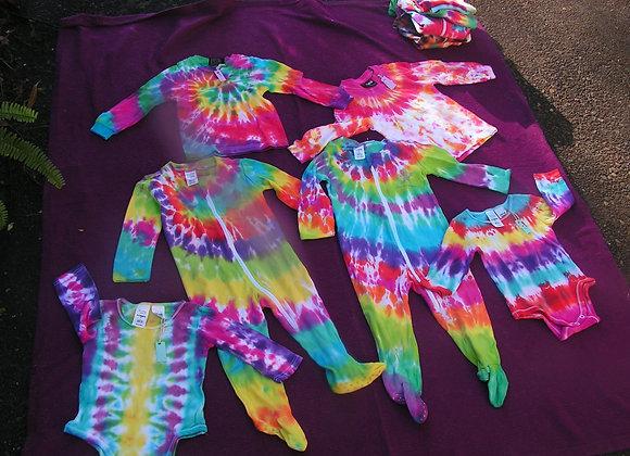 Toddler Onesies, Long-sleeve shirts, singlet tie-dye
