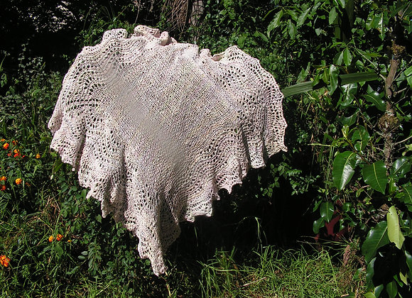 Feather & Fan knitted baby Shawl in wool, silk and alpaca