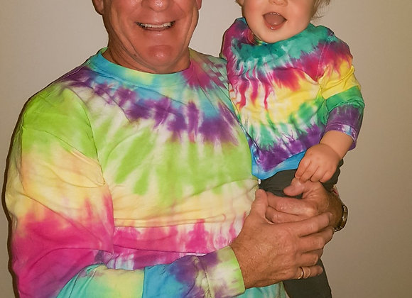 """Twins"" grandfather & grandson matching tie-dye"