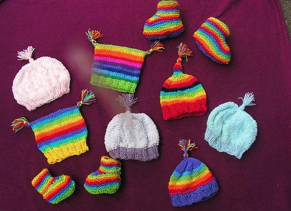 Rainbow Acrylic Beanies