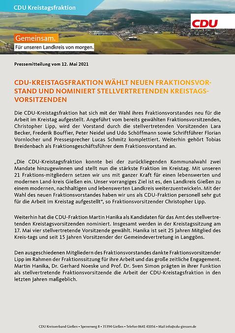 CDU-Kreistagsfraktion wählt neuen Frakti