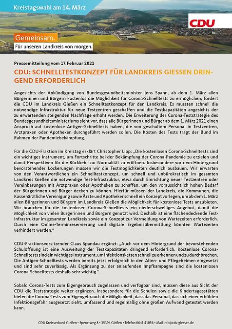 CDU Schnelltestkonzept für Landkreis Gie