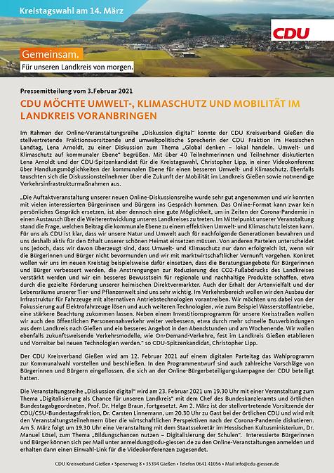 CDU möchte Umwelt-, Klimaschutz und Mobi