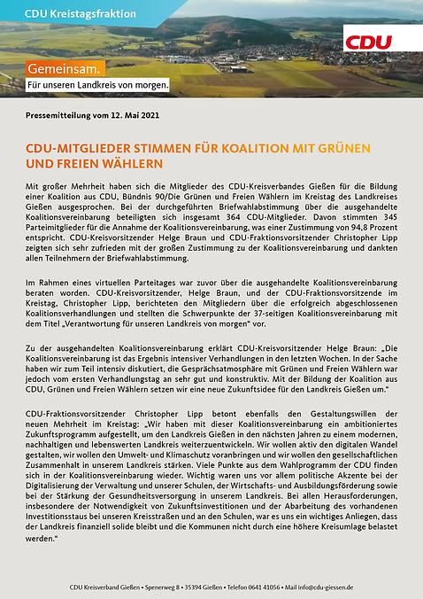 CDU-Mitglieder stimmen für Koalition mit