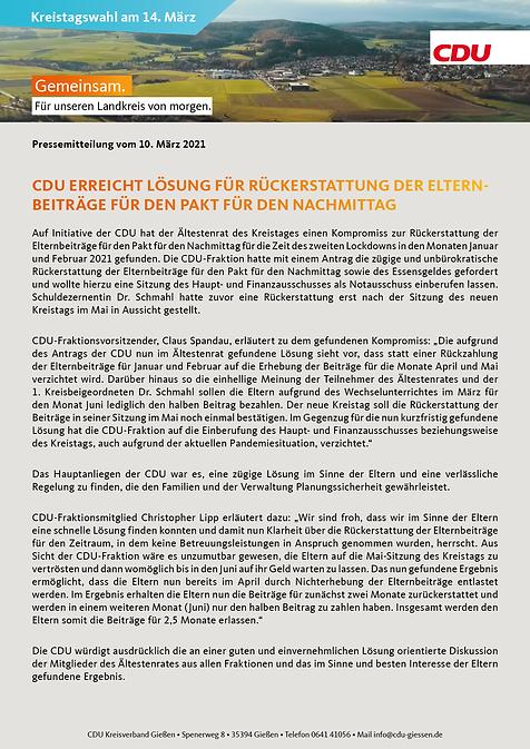 CDU erreicht Lösung für Rückerstattung d
