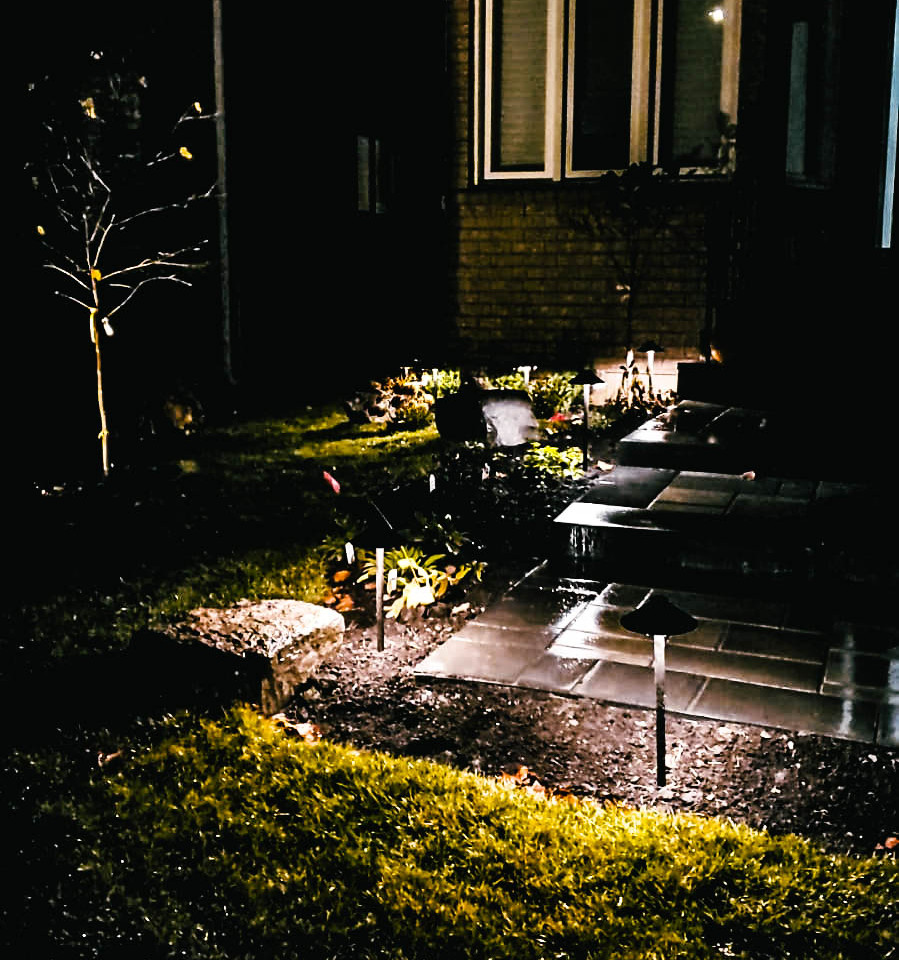 Backyard Path landscape light in the night 2