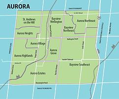 map of aurora ontario