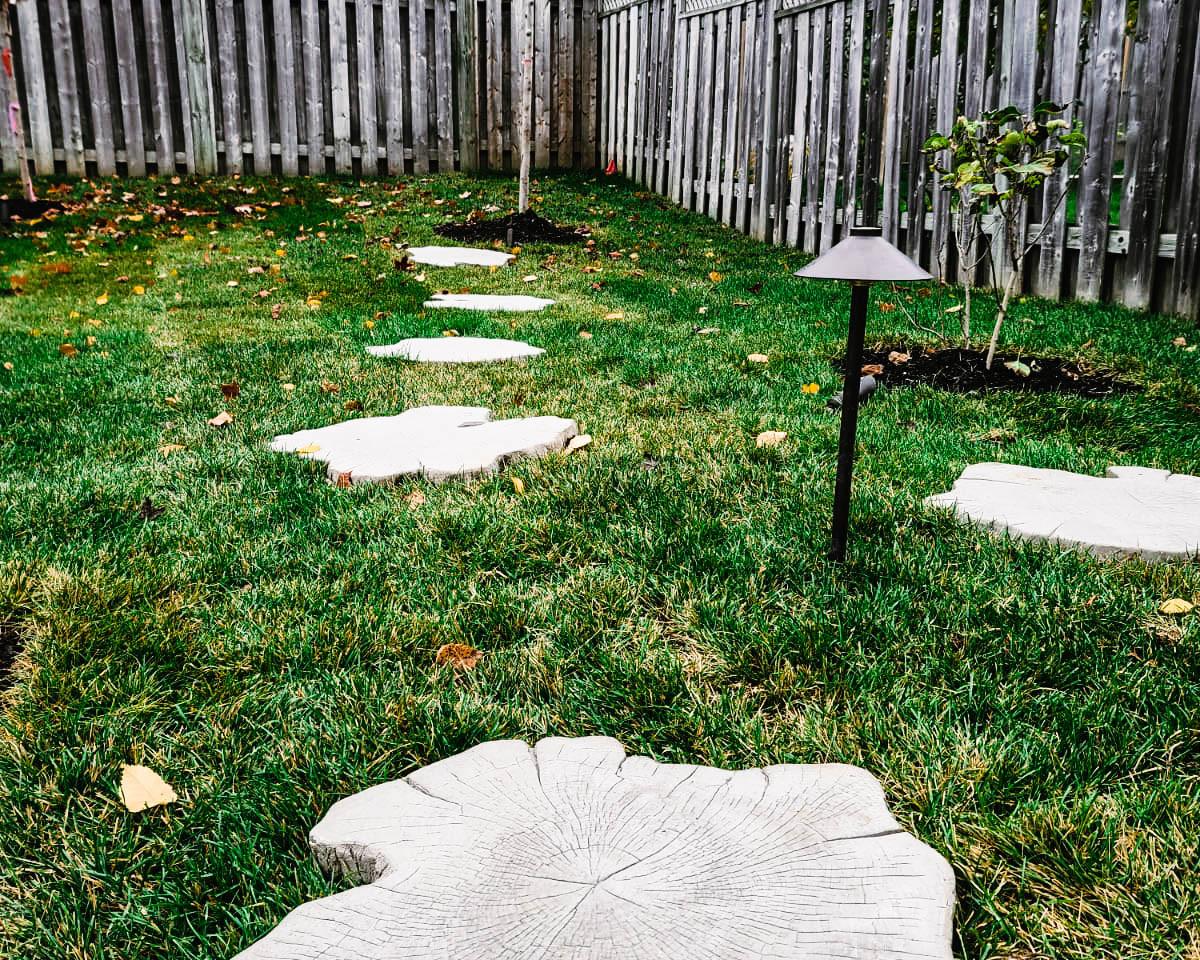 Backyard Path landscape light and stepping stones