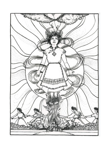 Midsommar pen and ink outlines