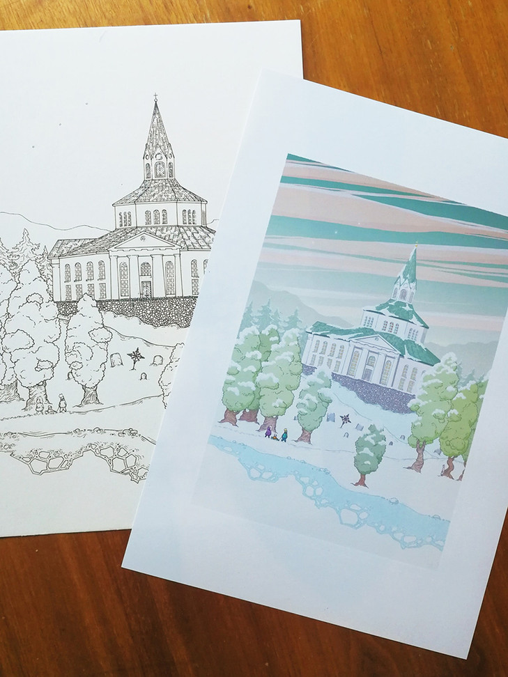 Ink drawing and print