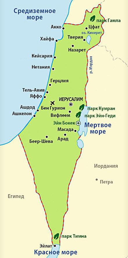 карта Израиля