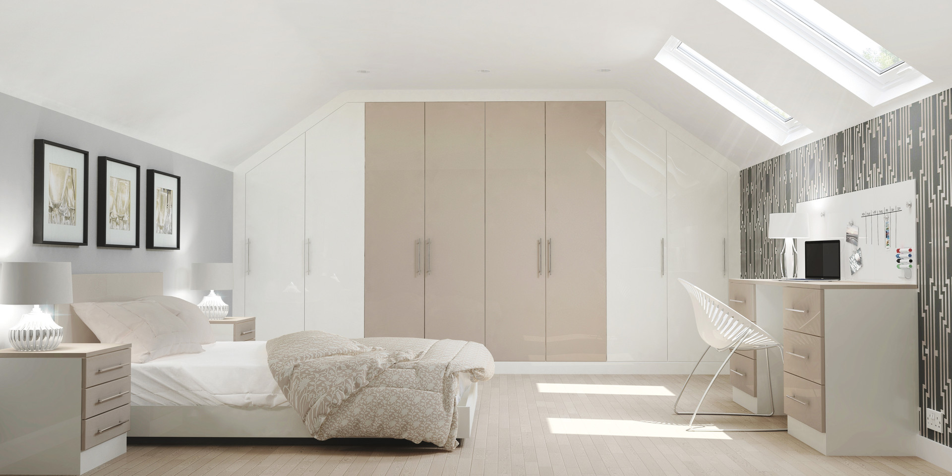 Glacier Bedrooms White and Metallic Champagne