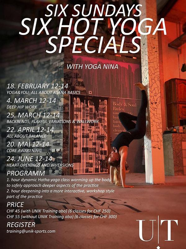UNIK Trainining: Flyer Six Hot Yoga Specials