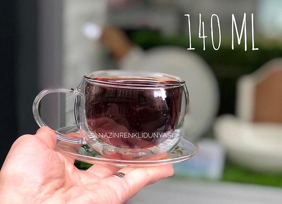 Borosilikat Cam 2'li Çay Kupası