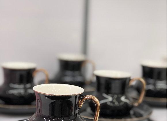 6 Kişişik Türk Kahvesi Seti Siyah