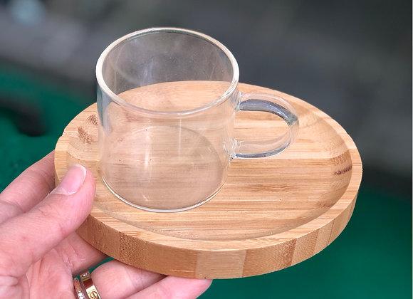 Borosilikat Cam Bambu Tabaklı 6'lı Set