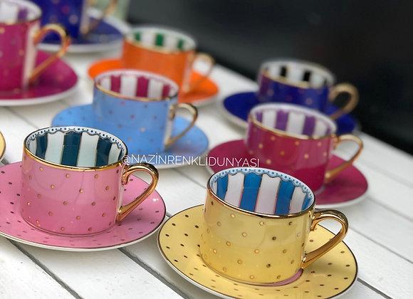 Porselen Renkli Türk Kahvesi Seti