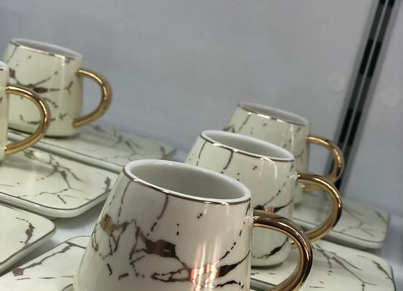 Beyaz  Mermet Türk Kahvesi Fincan Seti