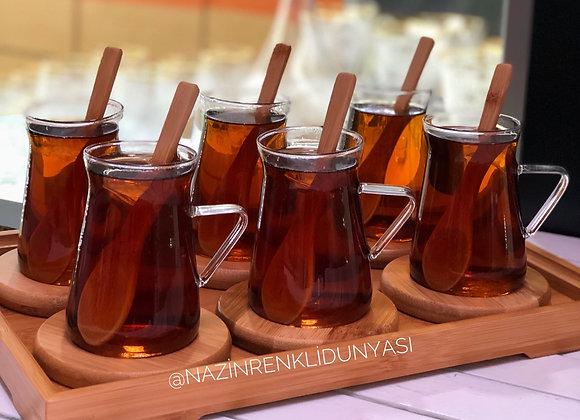 Bambu Tepsili Çay Seti 19 Parça