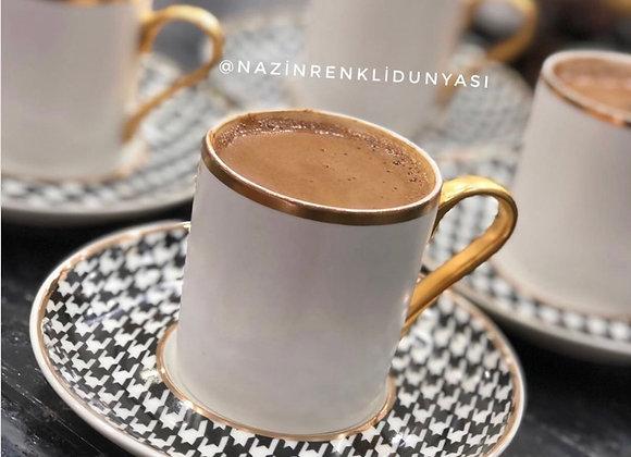 Porselen 6 Kişilik Türk Kahvesi Seti