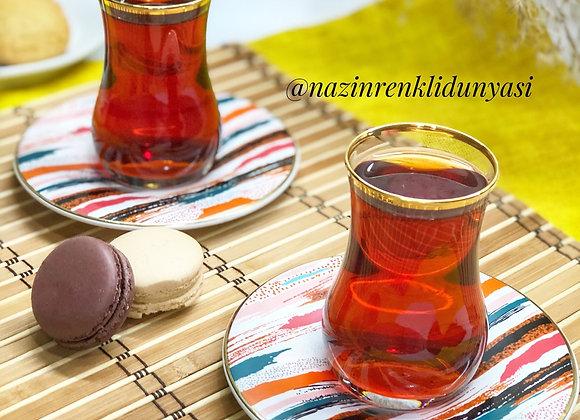 Renkli Çay Seti 6 Kişilik