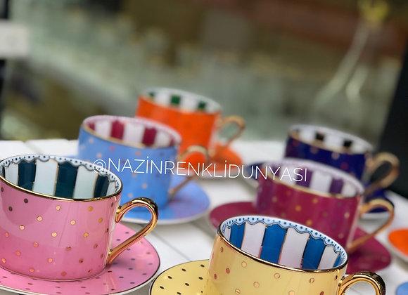Porselen Renkli Nescafe Kahvesi Seti