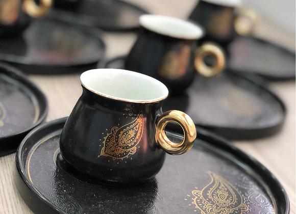 Porselen 6 Kişilik Türk Kahvesi Seti Siyah