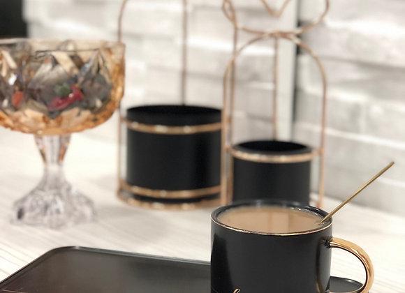 Özel Tasarım Porselen Çay Fincanı Siyah