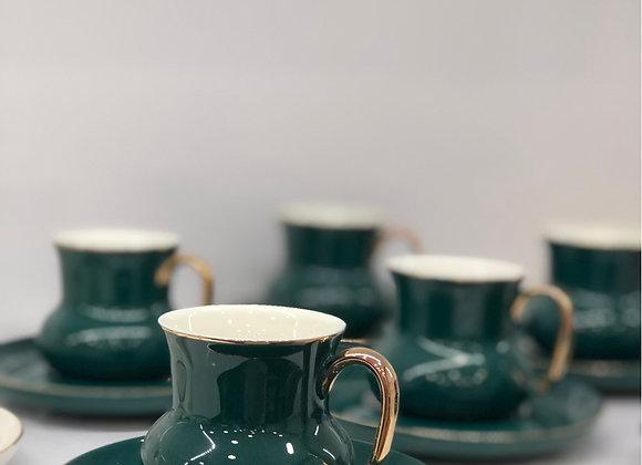 6 Kişilik Türk Kahvesi Seti Yeşil