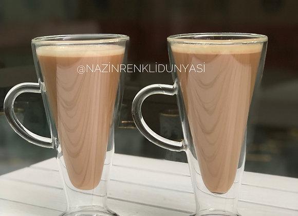 Borosilikat Cam 2'Li Latte Bardağı