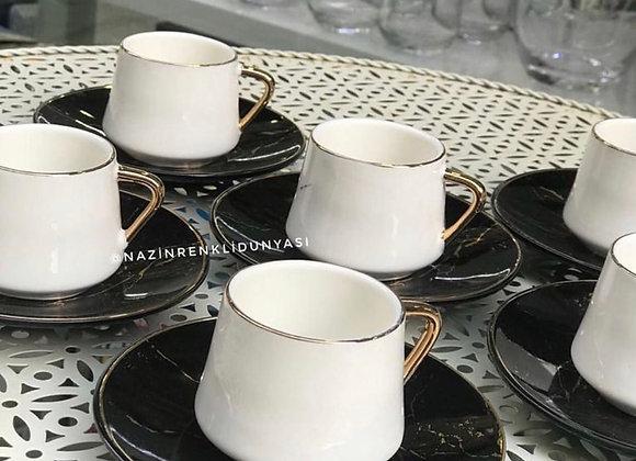 Porselen Mermer Desen Fincan Seti Siyah