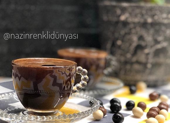Cam 6'Lı Türk Kahvesi Fincan Seti