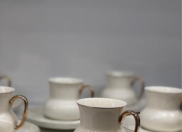 6 Kişilik Türk Kahvesi Seti Beyaz