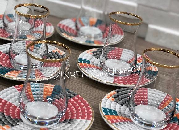 12 Parça Çay Seti Renkli