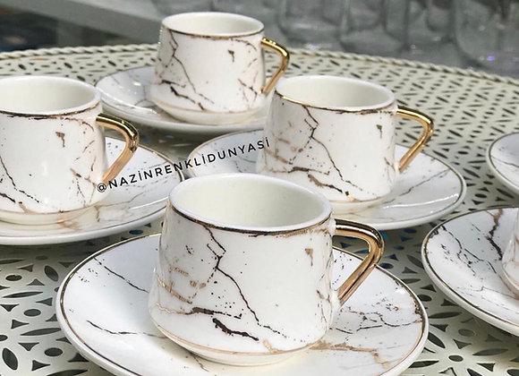 Porselen Mermer Desen Fincan Seti Beyaz