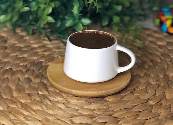 Porselen Bambu Tabaklı 6 Kişilk Türk Kahvesi Seti