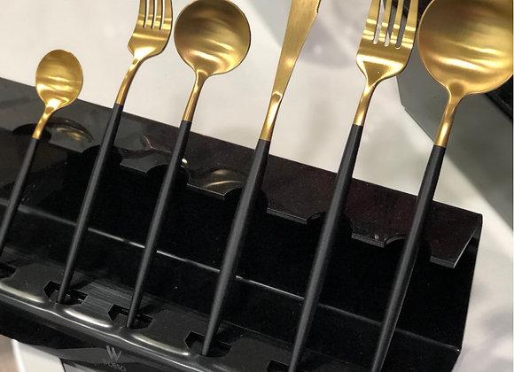 36 Parça Çatal Kaşık Bıçak Seti Siyah