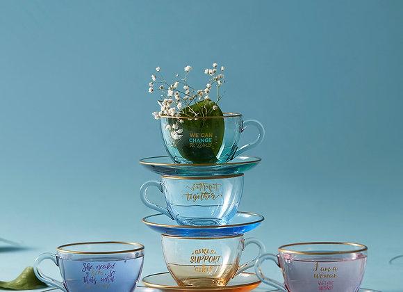 Cam Çay Fincanı Renkli